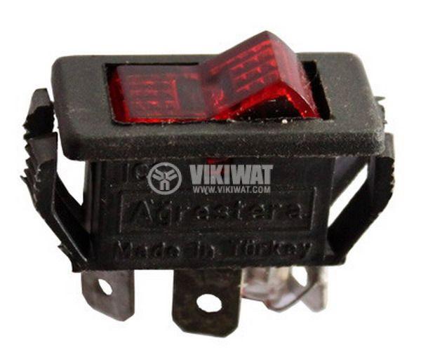 Клавишен превключвател rocker 15 A/12 VDC, 10 A/125 VAC, 6 A/250 VAC, ON-OFF, SPST,червен - 4