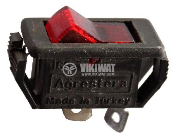 Клавишен превключвател rocker ,15 A/12 VDC, 10 A/125 VAC, 6 A/250 VAC, ON-OFF, SPST ,червен  - 4