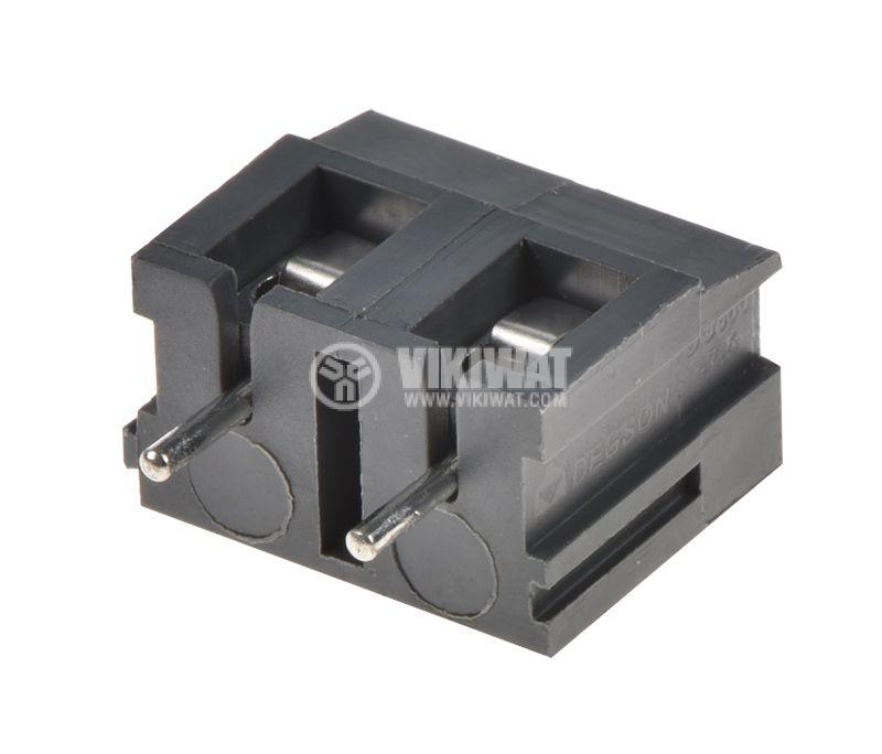PCB терминален блок с изолационни прегради, 2 пина, 24A, за печатен монтаж - 1