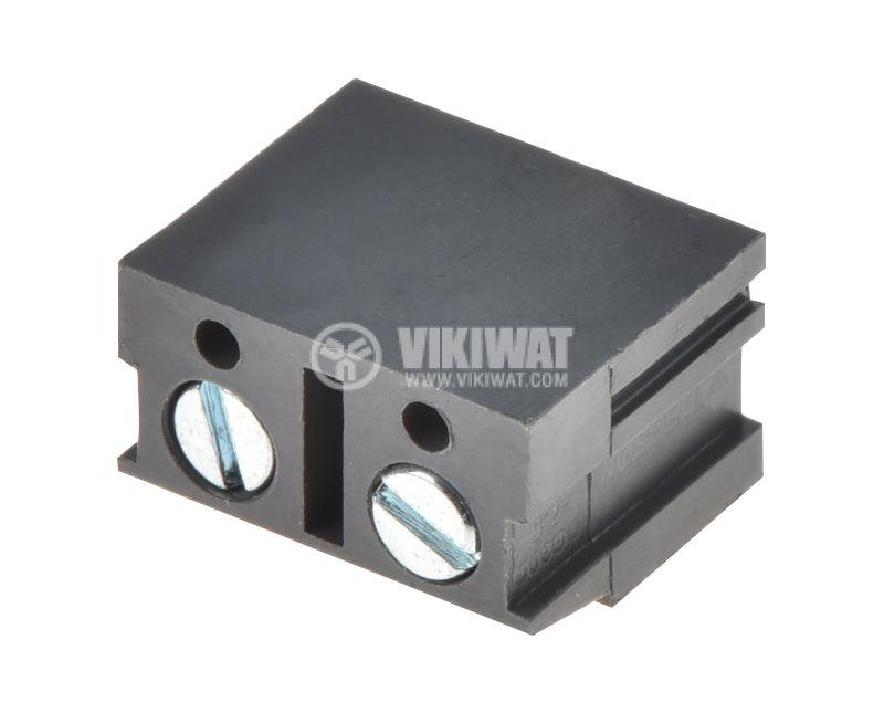 PCB терминален блок с изолационни прегради, 2 пина, 24A, за печатен монтаж - 2