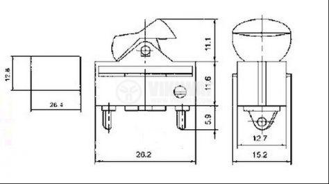 Клавишен превключвател rockerKCD1-122-1, 6 A/250 VAC, 10 A/125 VAC, OFF-ON-ON, SPDT, червен - 4