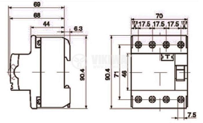 Residual Current Circuit Breaker (RCCB) 4P F364 230VAC 63А 30mА - 4