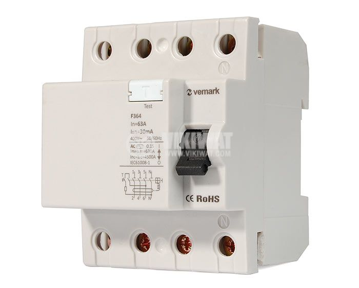 Residual Current Circuit Breaker (RCCB) 4P F364 230VAC 63А 30mА - 1