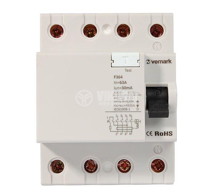 Residual Current Circuit Breaker (RCCB) 4P F364 230VAC 63А 30mА - 2