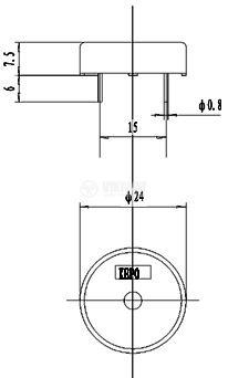 Пиезо зумер, KPT-G1340P35A, 9Vp-p, 80dB, 4kHz, Ф12.7x6.8mm, без генератор - 4
