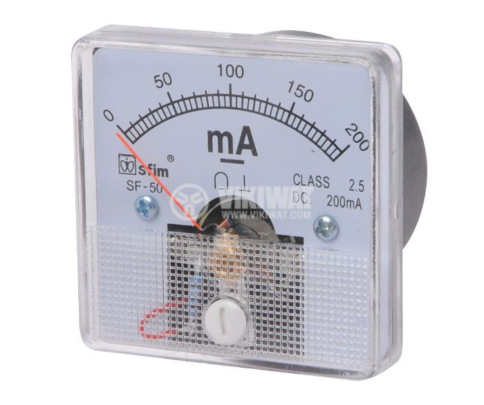 Ammeter, 0-200 mA, DC, 50x50 mm, SF-50 - 1