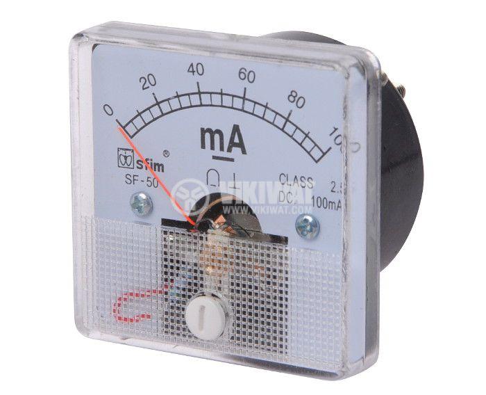 Ammeter, 0-100 mA, DC, 50x50 mm, SF-50 - 1