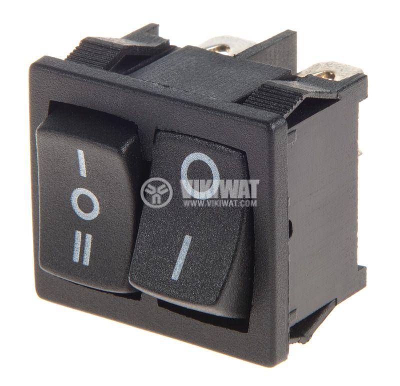 Rocker Switch, 3-position, ON-OFF-ON, 6A/250VAC, hole size 20x22mm - 1