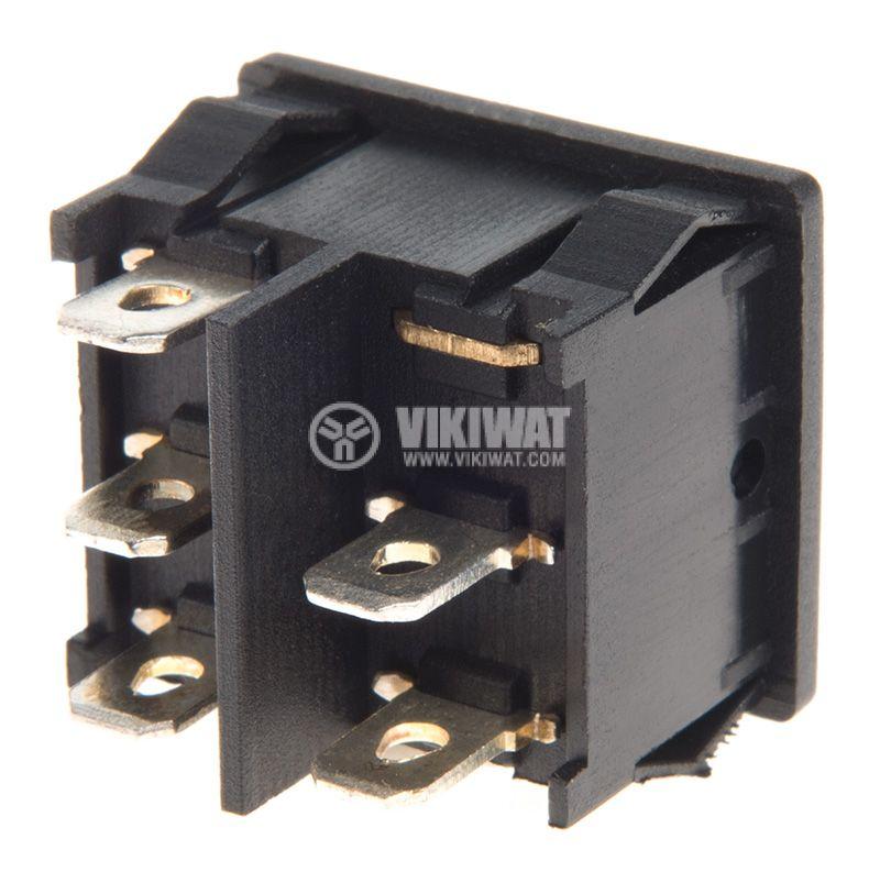 Rocker Switch, 3-position, ON-OFF-ON, 6A/250VAC, hole size 20x22mm - 3