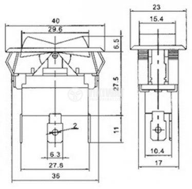 Клавишен превключвател rocker ASW-10-102, 20 A/30 VDC, 35 A/12 VDC, ON-ON ,SPST,черен  - 4