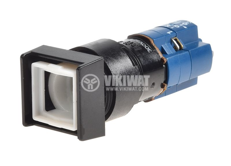Button switch, button, ON-(ON), 4A/250VAC, ф16mm, SPDT, square - 1