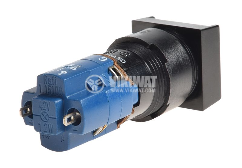 Button switch, button, ON-(ON), 4A/250VAC, ф16mm, SPDT, square - 3