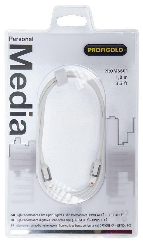 Бял оптичен кабел Toslink мъжки към Toslink мъжки, 1 метър,  позлатени TOS конектори PROM5601 - 2