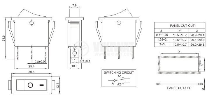 Клавишен превключвател rocker, 20A/250VAC, ON-OFF, SPDT - 4
