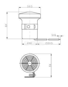 Пиезо сирена, KPS-G6028, 12 VDC, 100 dB, 2 kHz - 4