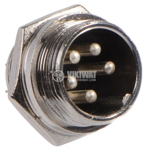 Connector, socket 5 pin panel mount, male, metal - 1