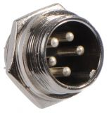 Connector, socket 5 pin panel mount, male, metal