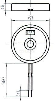 Пиезо зумер, KPR-G2313, 12Vp-p, 80dB, 4кHz, Ф23x4.2mm, без генератор - 2