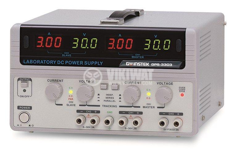 DC линеен лабораторен захранващ блок GPS-3303, 3 A, 30 V, 2+1 канала, 195 W - 1