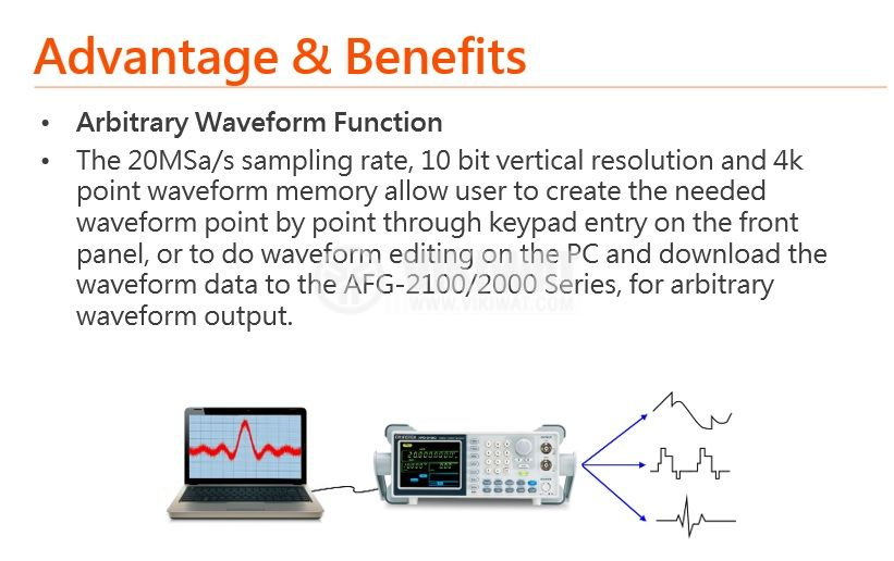 Функционален генератор AFG-2125, цифров (DDS), от 0.1 Hz до 25 MHz, AM/FM/FSK модулации - 3