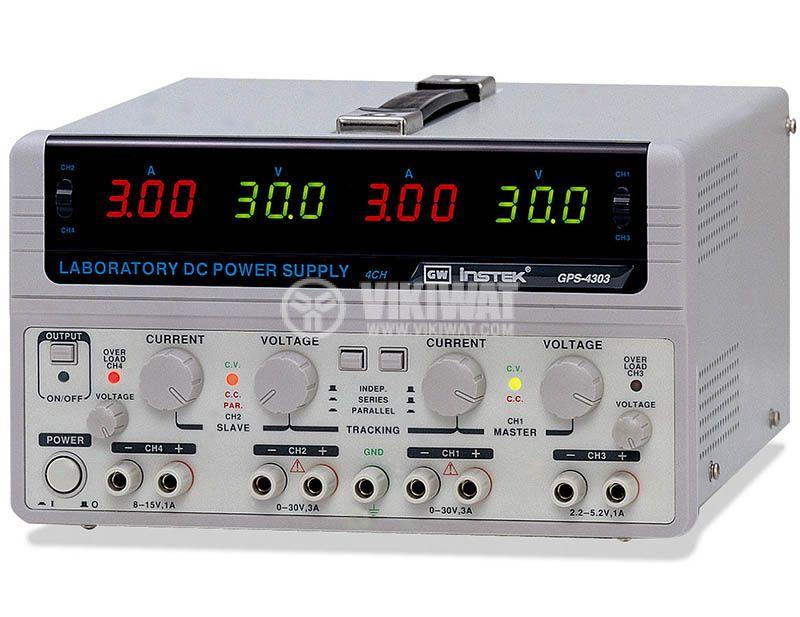 Linear DC Power Supply GPS-4303, 3 A, 30 V, 2 CH + 2 CH - 1