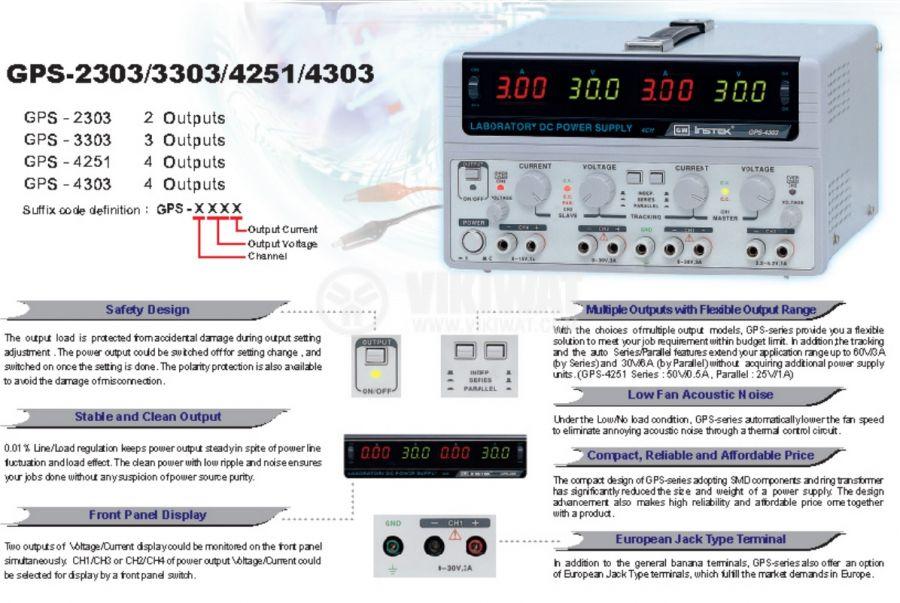 Linear DC Power Supply GPS-4303, 3 A, 30 V, 2 CH + 2 CH