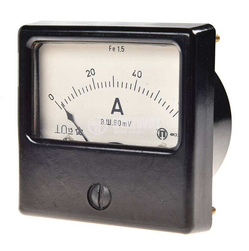 Analogue panel ammeter 4M32 , 60 A, DC, shunt operated 60mV - 1