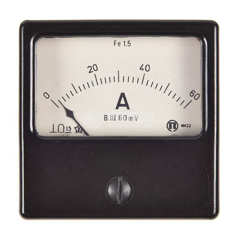 Analogue panel ammeter 4M32 , 60 A, DC, shunt operated 60mV - 3