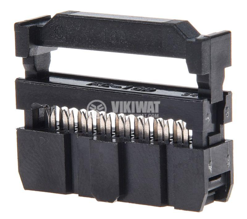 Съединител IDC женски 16 пина растер 2.54mm 2х8 - 2