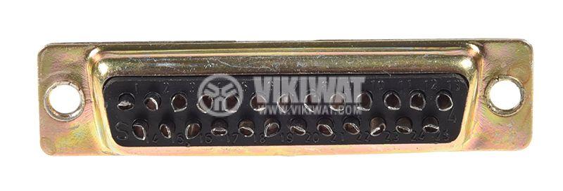 D-Sub конектор, 25 пина, женски, за панелен монтаж - 1