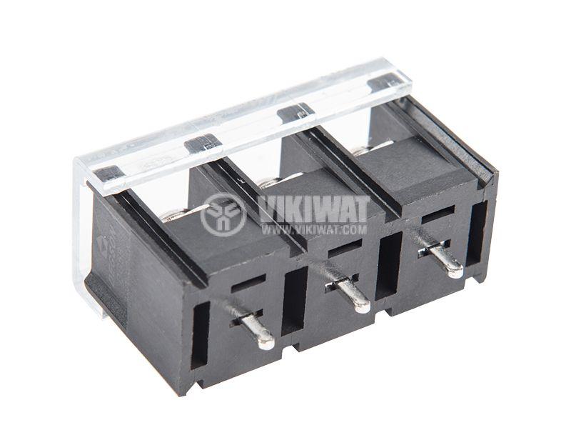 PCB терминален блок с изолационни прегради, 3 пина, 20A, за печатен монтаж - 1
