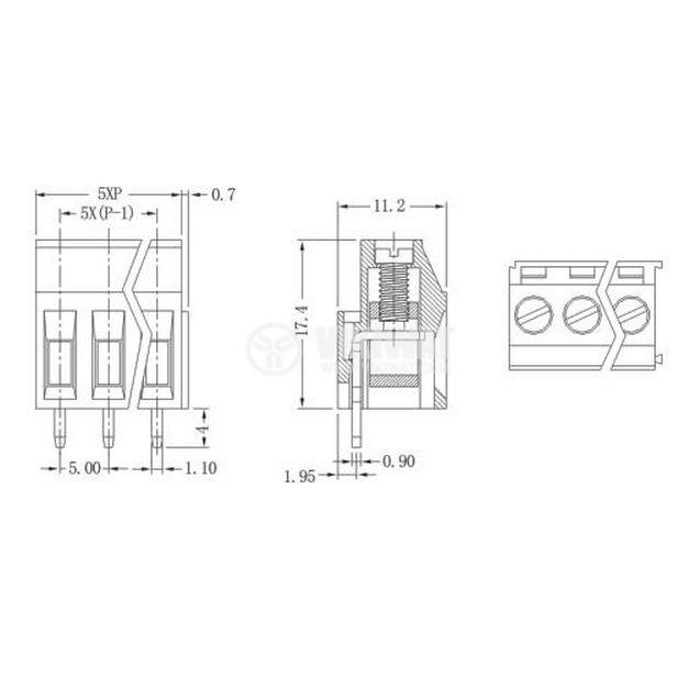 Клеморед за печатна платка, XY129V-A3P, 3 pin, 5mm, 24A, вертикален монтаж - 2