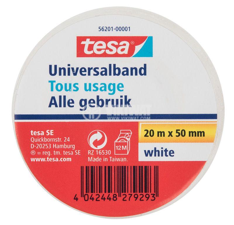 PVC insulating tape, tesa Universalband, width 50mm x length 20m, white - 1