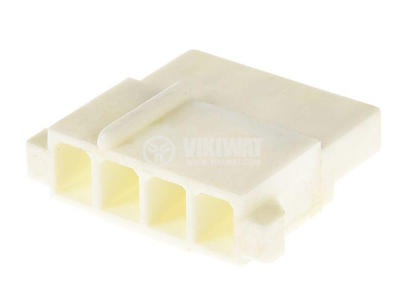 Connector, MOLEX M, 4 pin, plastic, white - 1