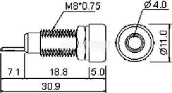 Banana socket R1-22-G, 4 mm