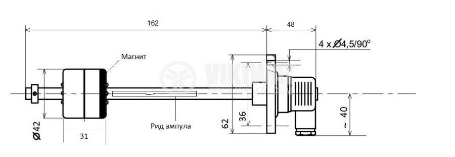 Нивосигнализатор за течности, ЕСПА 01до02, L162 mm, NC, 220 VAC, 1 A, с куплунг   - 4