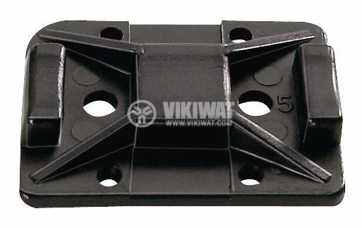 Holder for cable tie TY8G1S-PA66W-BK, 32x25mm, black, adhesive