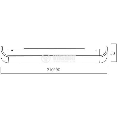 LED аплик AVVA-WL03, 8W, 220VAC, 400lm, 3000K, топло бял, 210mm, BH07-03200, бял - 2