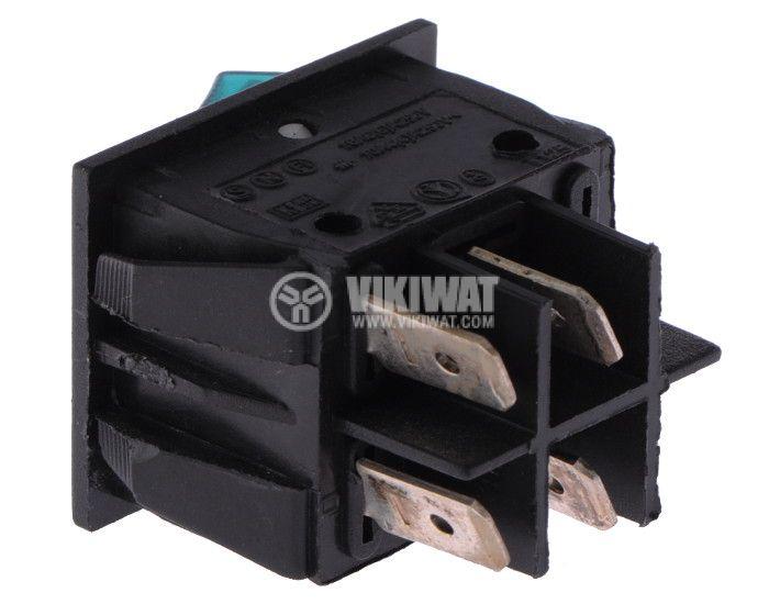 Клавишен превключвател rocker KCD4-201, 16A/250VAC, DPST - 2