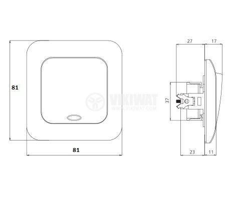 Електрически ключ, LEXA M-RK1D, вграждане, сх.1 единичен, 10A, 250VAC, бял, светещ - 2