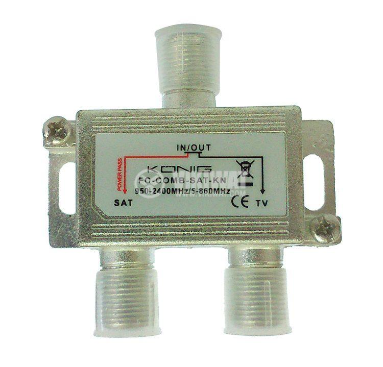 Сплитер, FC-COMB-SAT-KN, 950-2400MHz /5-860MHz