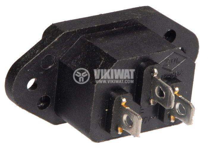 Захранващ конектор АC, SP-864A2, C14(E), 250VAC, 10A - 2