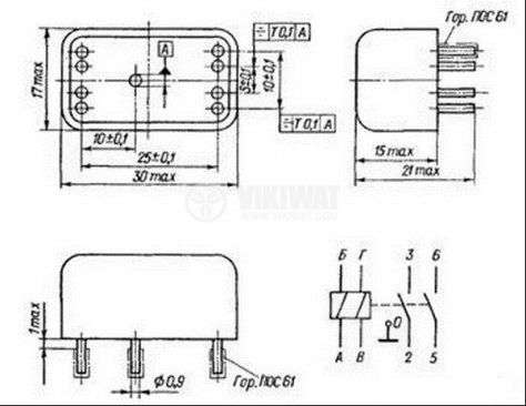 Рийд реле електромагнитно РЭС43 РС4.569.202, с 2 бобини 24VDC, 100VAC/0.2A, DPST - 2NO - 3