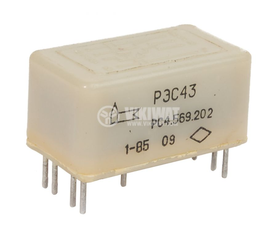 Рийд реле с 2 бобини, РЭС43 РС4.569.202,  27VDC 100VAC/0.2A - 1