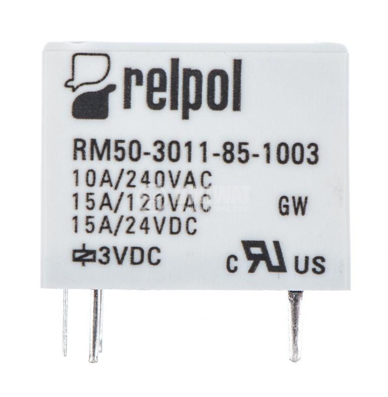 Реле, електромагнитно RM50-3011-85-1003, бобина 3VDC, 240VAC, 10A , SPDT - 1