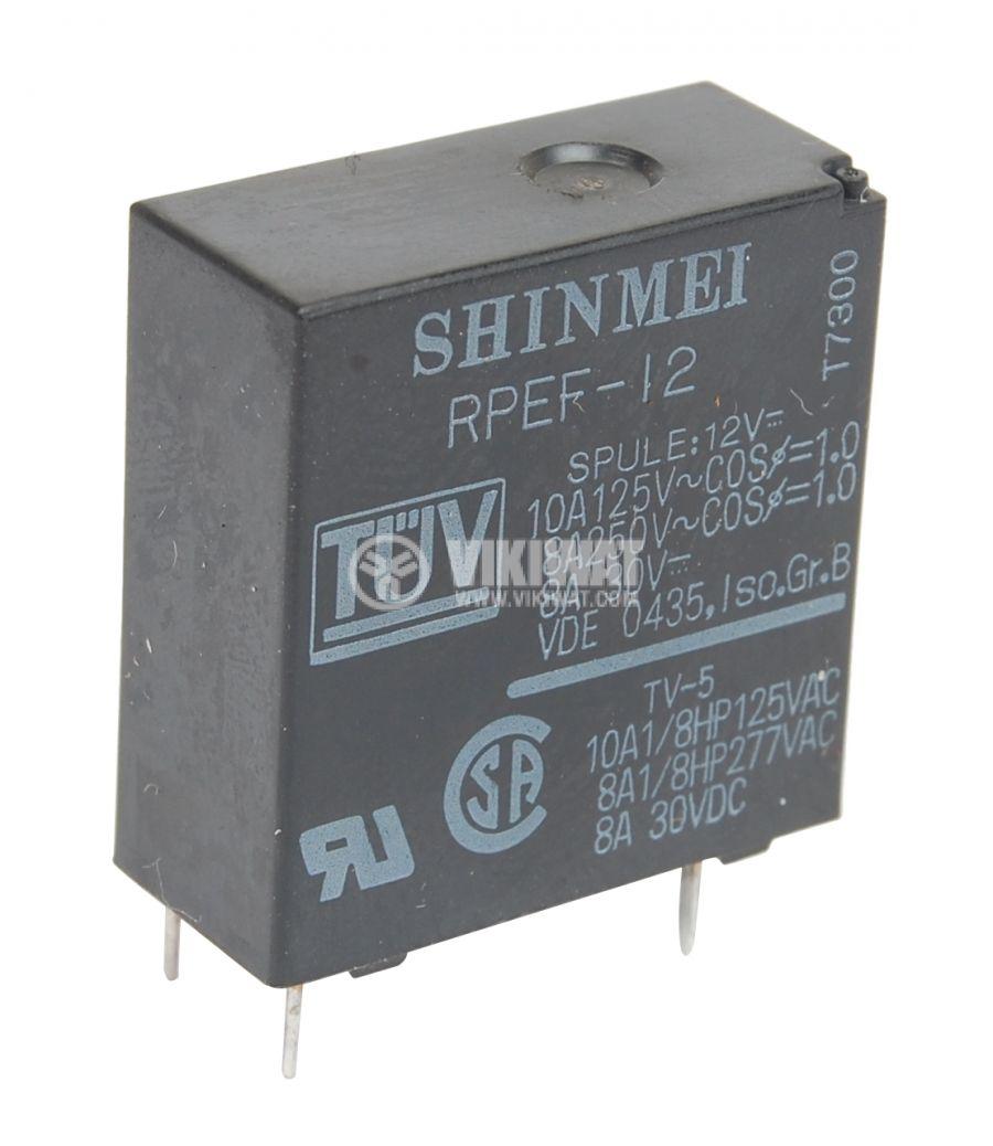 Реле електромагнитно универсално, RPEF-12,12VDC 250VAC/8A SPST NO