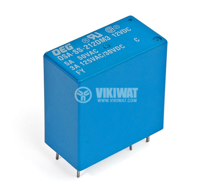 Electromеchanical Relay universal, DEGCST-SS-2120DMS, coil 12VDC 125VAC/3A DPST - 2NO - 1