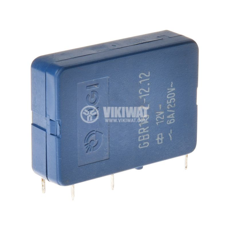 Реле електромагнитно GBR15.2-12.12, бобина 12VDC, 250VAC/6A, DPDT 2NO+2NC