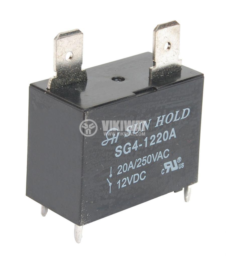 Реле електромагнитно универсало, бобина 12VDC, 250VAC/20A, SPST NO, SG4-1220A - 1