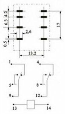 Електромагнитно реле, MY2 ,12 VDC, 250 VAC, 5 A, DPDT 2NO+2NC - 3